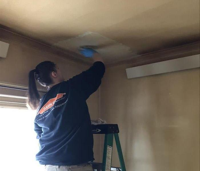 A woman wearing a SERVPRO shirt and standing on a ladder cleans a ceiling