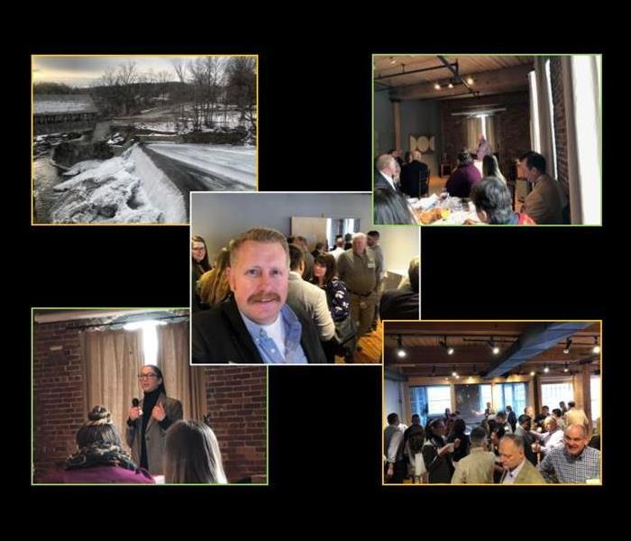 collage of photos from a networking event, 4 pictures of people at event, 1 picture of covered bridge in winter