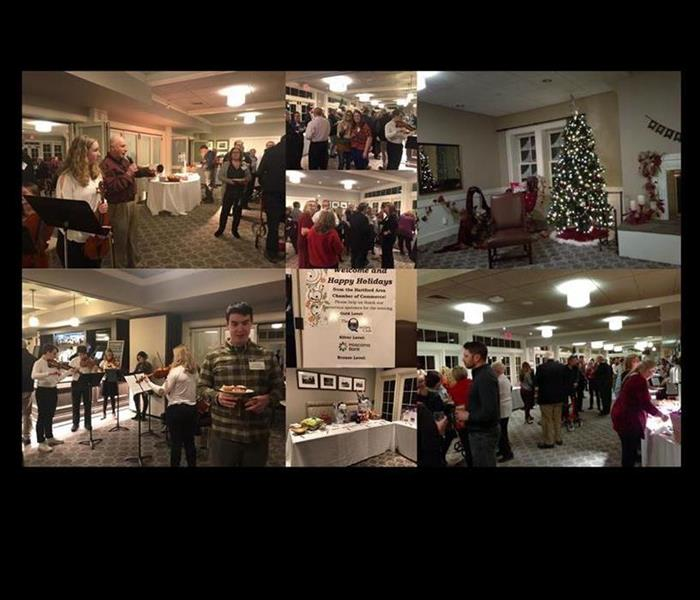 collage from a holiday party, people playing music, eating, socializing, Christmas decorations and banner with business names