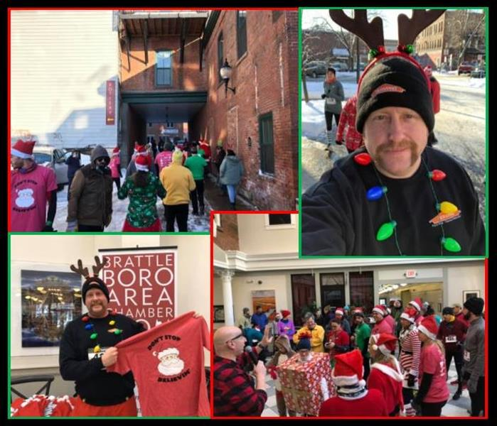 collage from a Christmas themed run, with two pictures of man with facial hair, SERVPRO clothes & Christmas costume