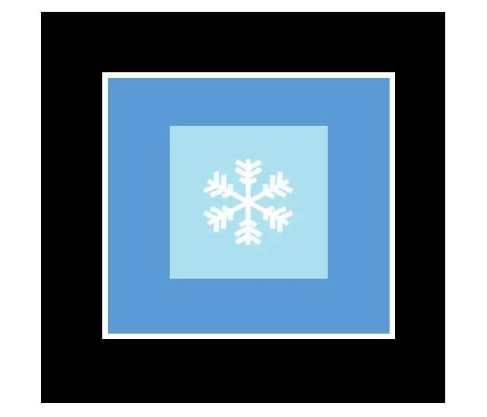 illustration of a snowflake with blue squares in the background
