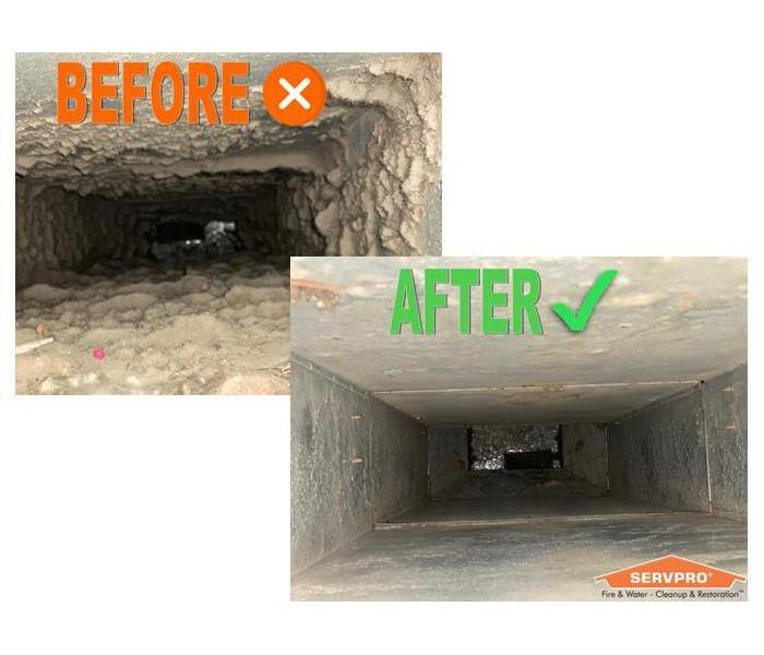 Before and after photos of air ducts. Before has heavy amounts of dust and debris, after is clean of debris.