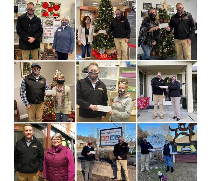 Collage of SERVPRO employee at various organizations making donations with their representatives.
