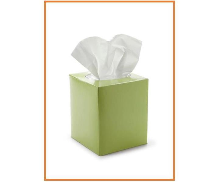 green box of tissues with white background and orange border